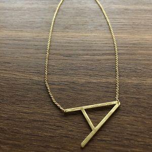 Anthropologie Gold Block Letter Monogram Necklace